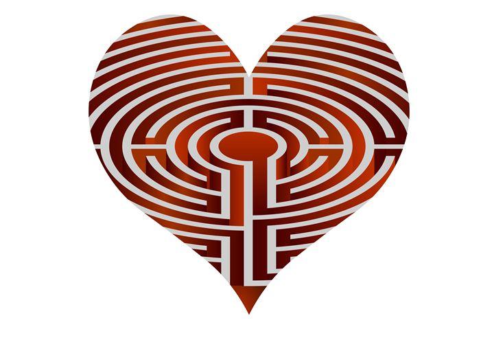 vector heart looks like maze - Art Gallery