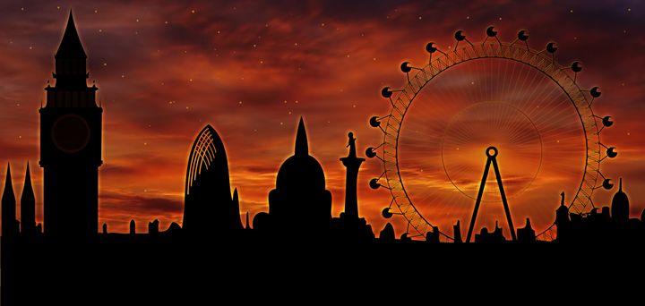 panorama of London at sunset - Art Gallery