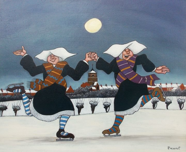 Sisters having fun on the ice - Secret Inspired Art