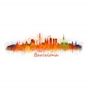 Barcelona City Skyline v3 Square