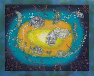 Fish: silver fish in a sea vortex