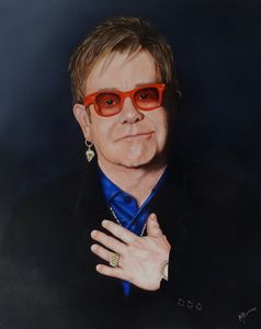 Sir Elton John - Mel Davies Original Art