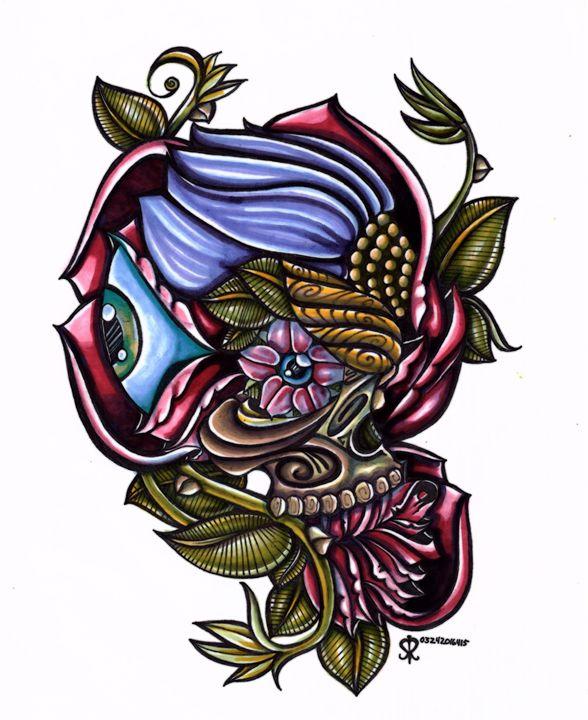 Floral Skull ! - SurrealCreativity