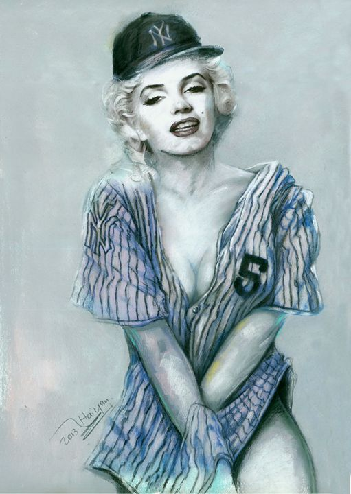 Marilyn Monroe with Yankee Jersey - pop picture