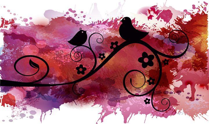 Black birds silhouette on a branch - SeashellDesigns