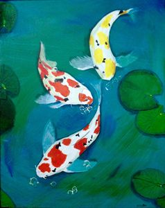 Three koi in the lilly