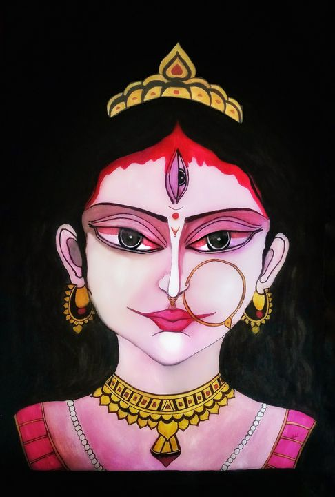 Ma Durga Goddess oil painting - Yes4Years