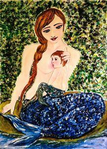 Mermaid mother feeding her baby