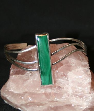 Sterling Silver and Malachite Bracel - Solitude Artistry