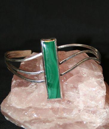 Sterling Silver and Malachite Bracel - Solitude Artistry
