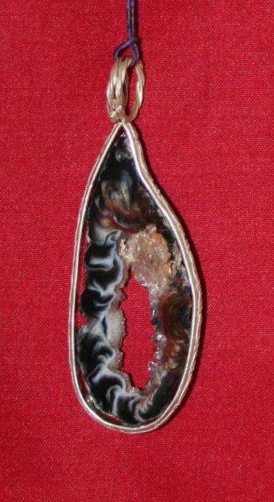 Sterling Silver and Oco Geode Pendan - Solitude Artistry