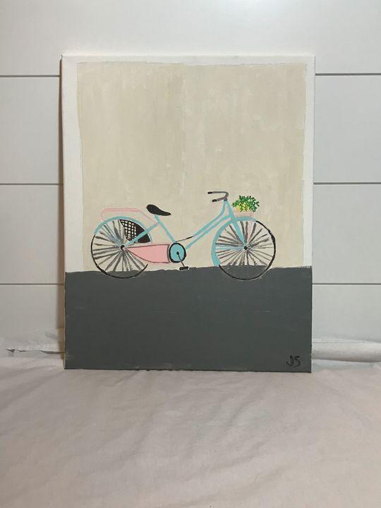 Vintage Bike with Plant Basket - Paintings by Julia