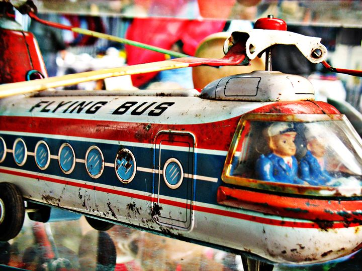 Vintage Flying bus tin toy - Felix Padrosa