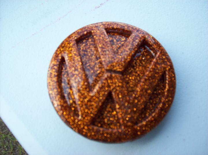 Orange Flake VW emblem belt buckle - Watts Kreations