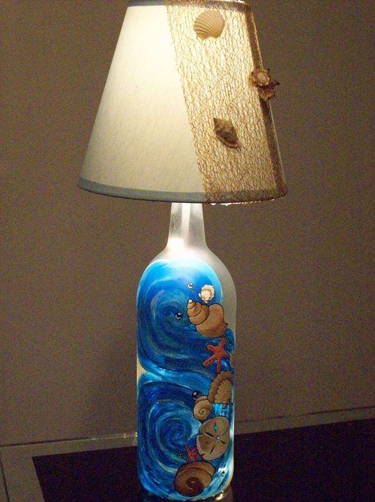 Seashell WineBottle Lamp - Watts Kreations
