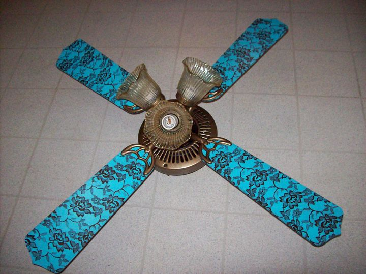 Teal and brown lace ceiling fan - Watts Kreations