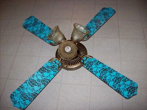 Teal and brown lace ceiling fan