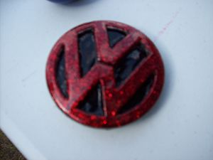 Red Flake VW Emblem Belt Buckle