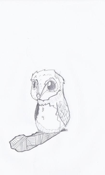 Baby Owl - jason mixed media art