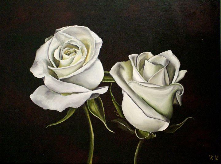 Two White Roses - Kate Viola