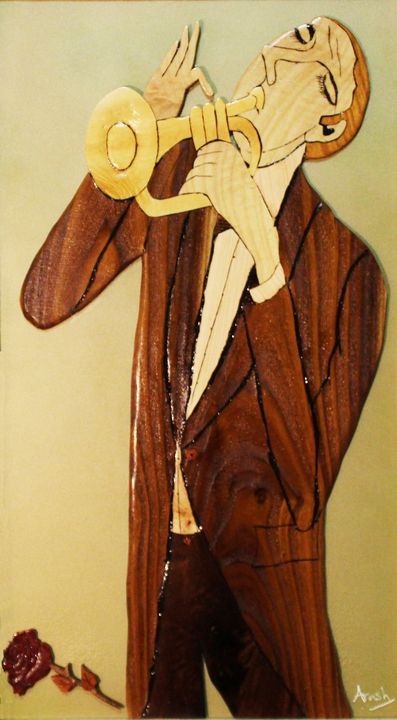 Trumpet Player - Drawing and Marquetry by Arash