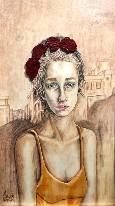 Her Eyes - Drawing and Marquetry by Arash