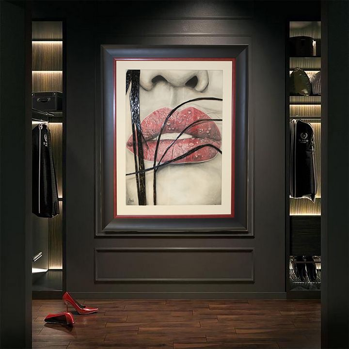 A road to her Lips - Drawing and Marquetry by Arash