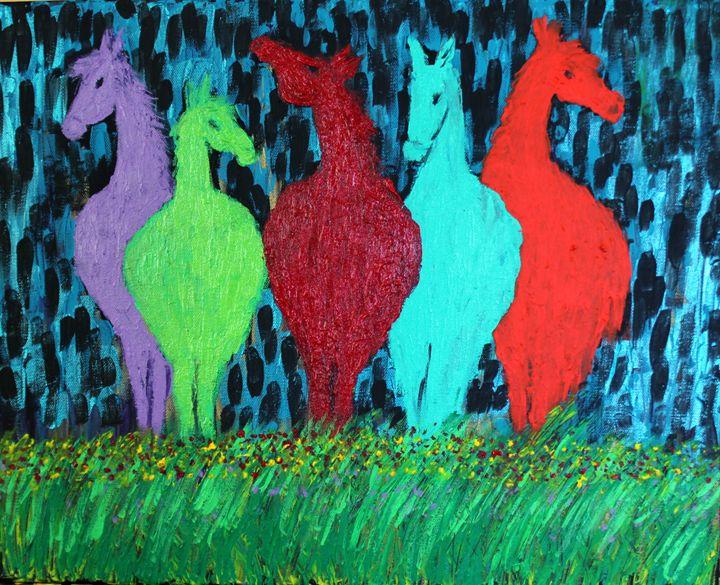 Vibrant Abstract Horses - Creatiive Art