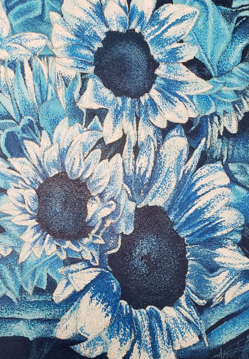 Blue Sunflowers  (Monochromatic) - Aaroncesh Art