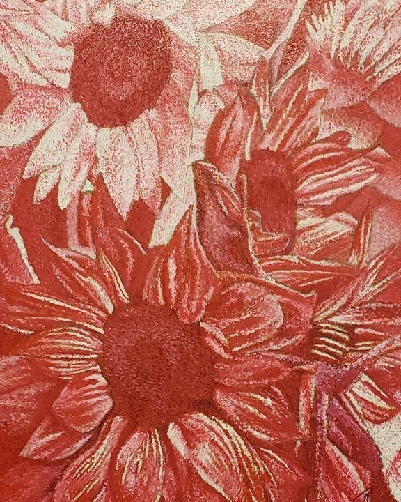 Red Sunflowers (Monochromatic) - Aaroncesh Art