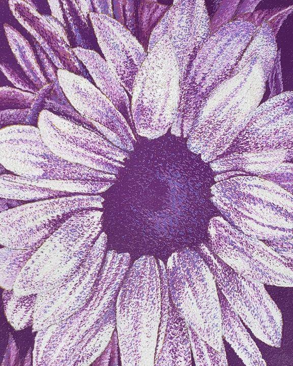 Purple Sunflower (Monochromatic) - Aaroncesh Art