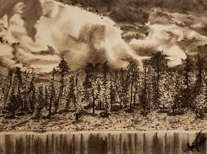 Forest Treeline at the Lake - Aaroncesh Art