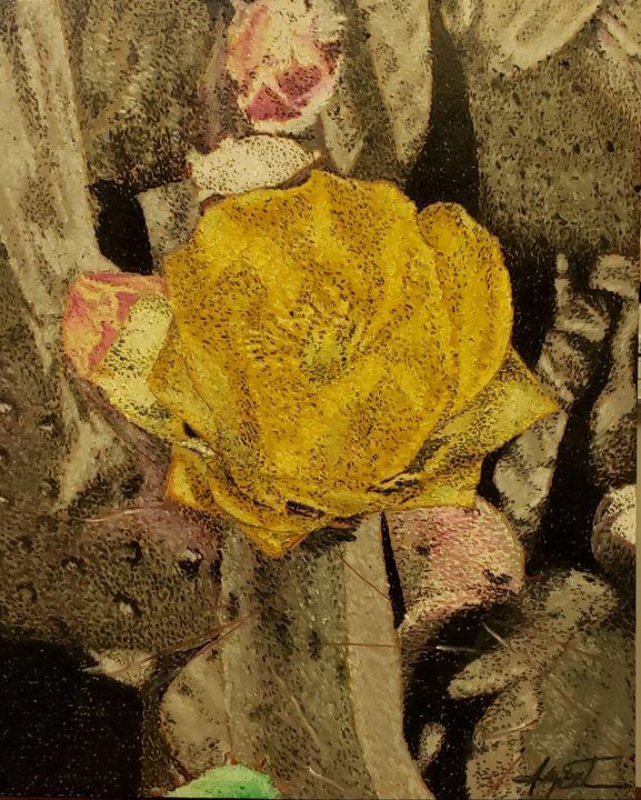 Yellow Cactus Flower - Aaroncesh Art
