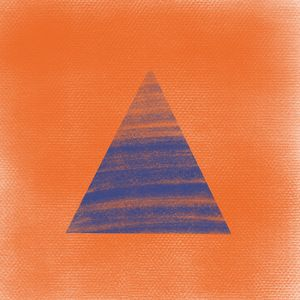 Blue triangle on orange background