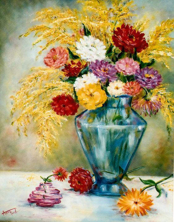 Zinniamania - Ann Ford Fine Art