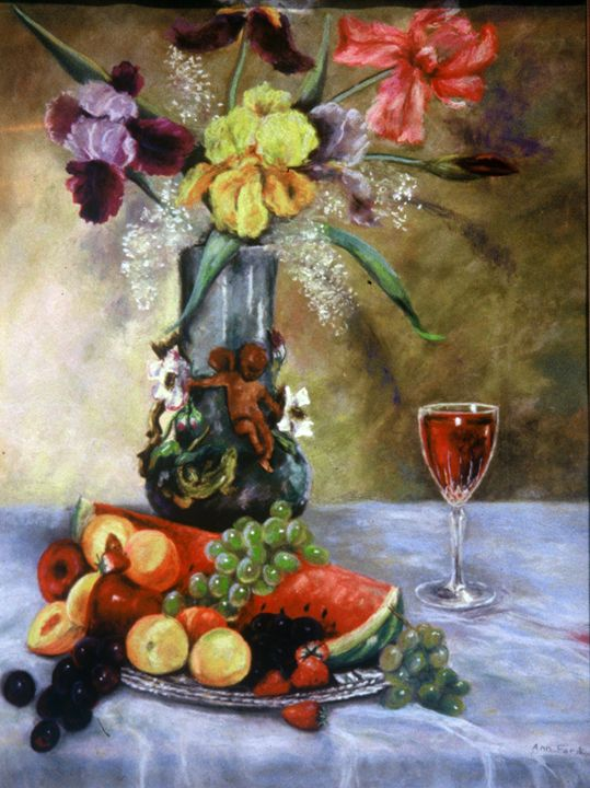 Watermelon and Iris - Ann Ford Fine Art