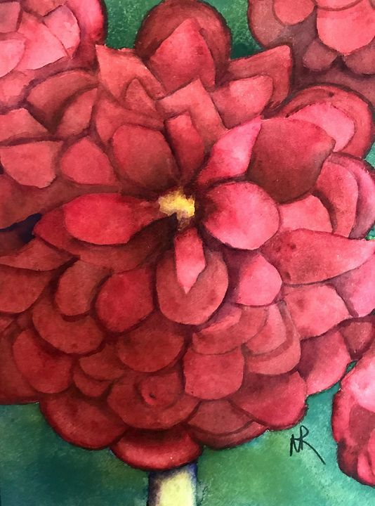Maroon Dahlias - Nancy Riedell Fine Arts