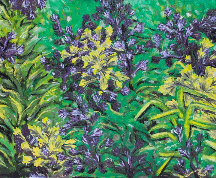 """Garden Scene 20""""x24"""" - Art by Ginny Rossin"""