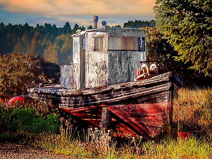 Abandoned Boat in Field at Sunrise - Vittek Studios