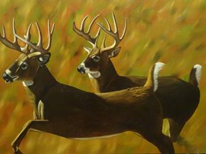 Beautiful Deer Running Oil Painting