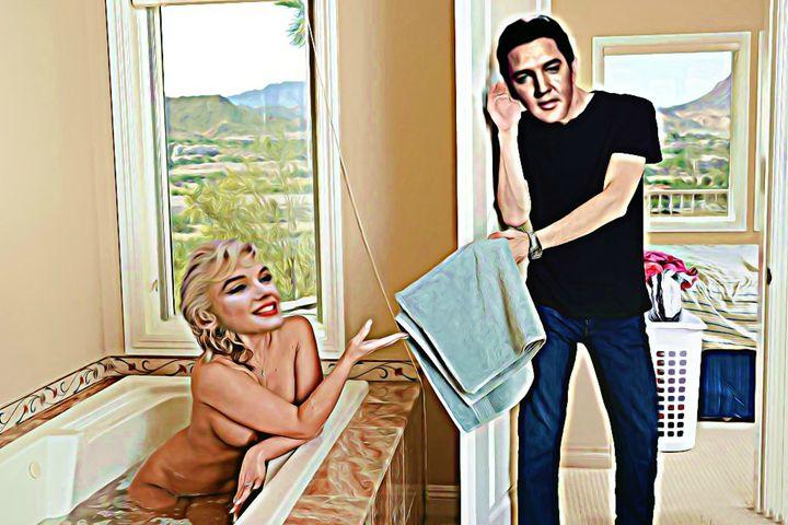 MARILYN MONROE ELVIS PAINTING - Hollywood Erotic Art.Com