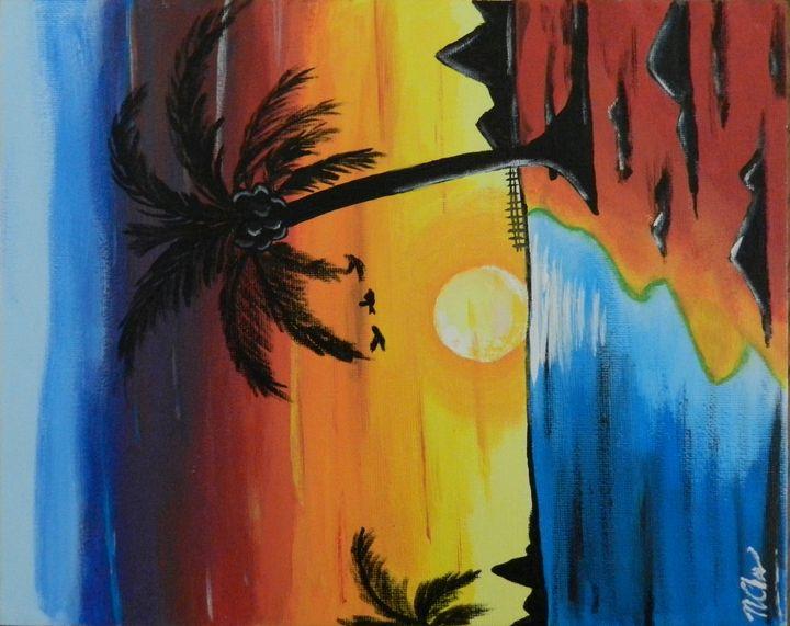 Sunset Beach Landscape Painting - Chau Mai