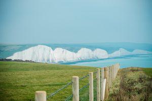 White Cliffs & Green Fields Near Sea