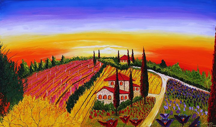 Yellow Purple Side Of Tuscany #1 - Dunbar's Modern Art