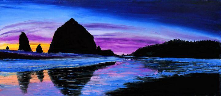 Cannon Beach Haystack Rock Sunset #2 - Dunbar's Modern Art