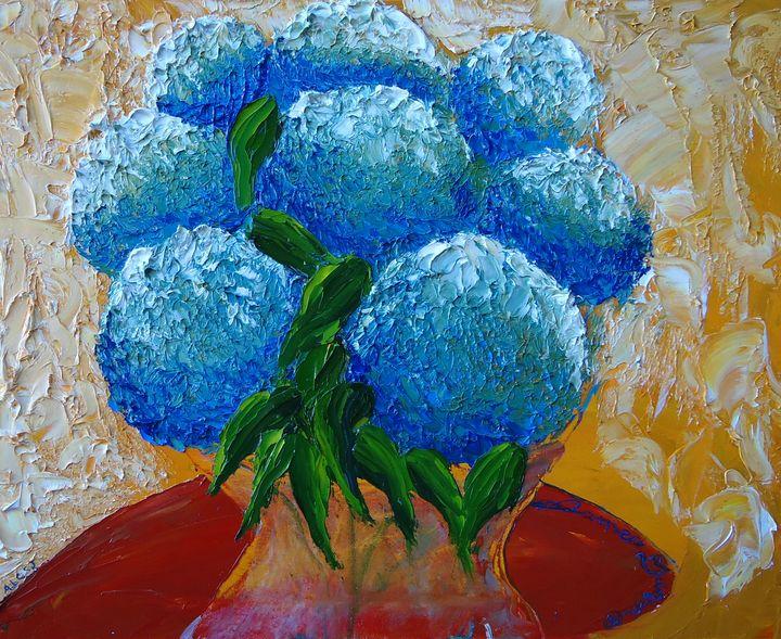 Blue Hydrangea  Bloom - Dunbar's Modern Art