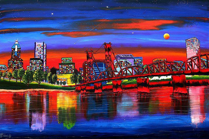 Portland Starry Night #4 - Dunbar's Modern Art