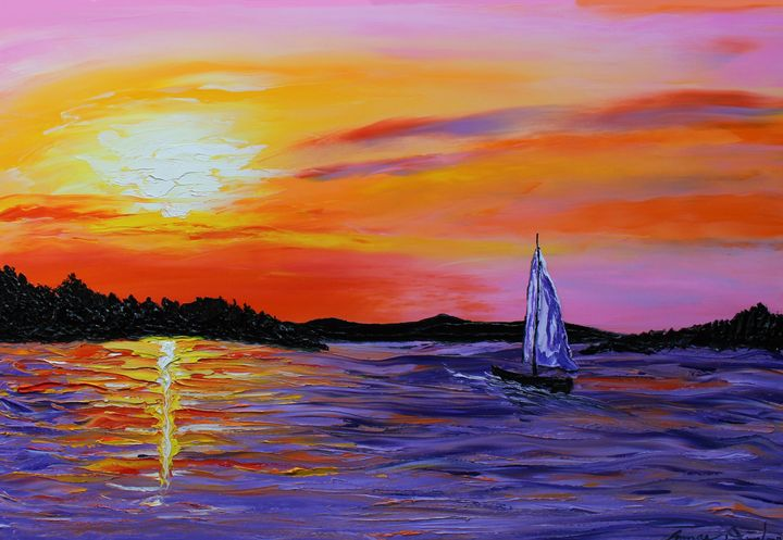 Sunset Sails Of Autumn #1 - Dunbar's Modern Art