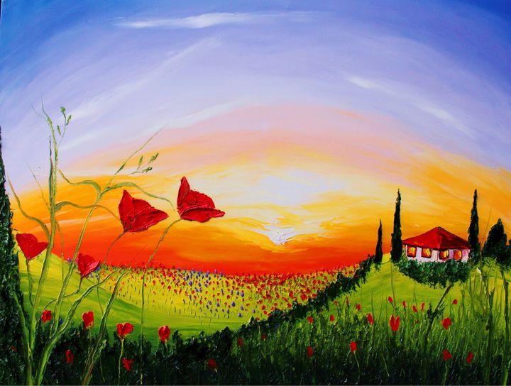 Red Poppies Of Tuscany #9 - Dunbar's Modern Art