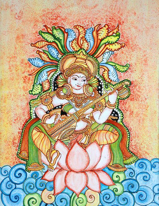 kerala mural-saraswati - Agals Atelier